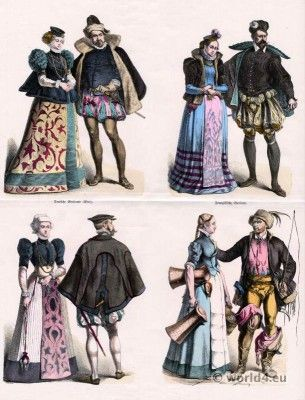 German and France Renaissance Costumes 1580.  Top row left to right: German noblemen from the Palatine. Right: French noblemen.  Bottom row left to right: German citizen costume. Right: Nuremberg maid and teamster.