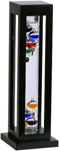 G.W. Schleidt YG824-B Galileo Thermometer Square Black Finish Multicolored > Educational and fun thermometer invented 400 years ago by Galileo Galilei, a pioneer of modern physics and astronomy Measures 60 - 84 degrees Fahrenheit Multi-colored spheres with numerical tags suspended in crystal clear liquid