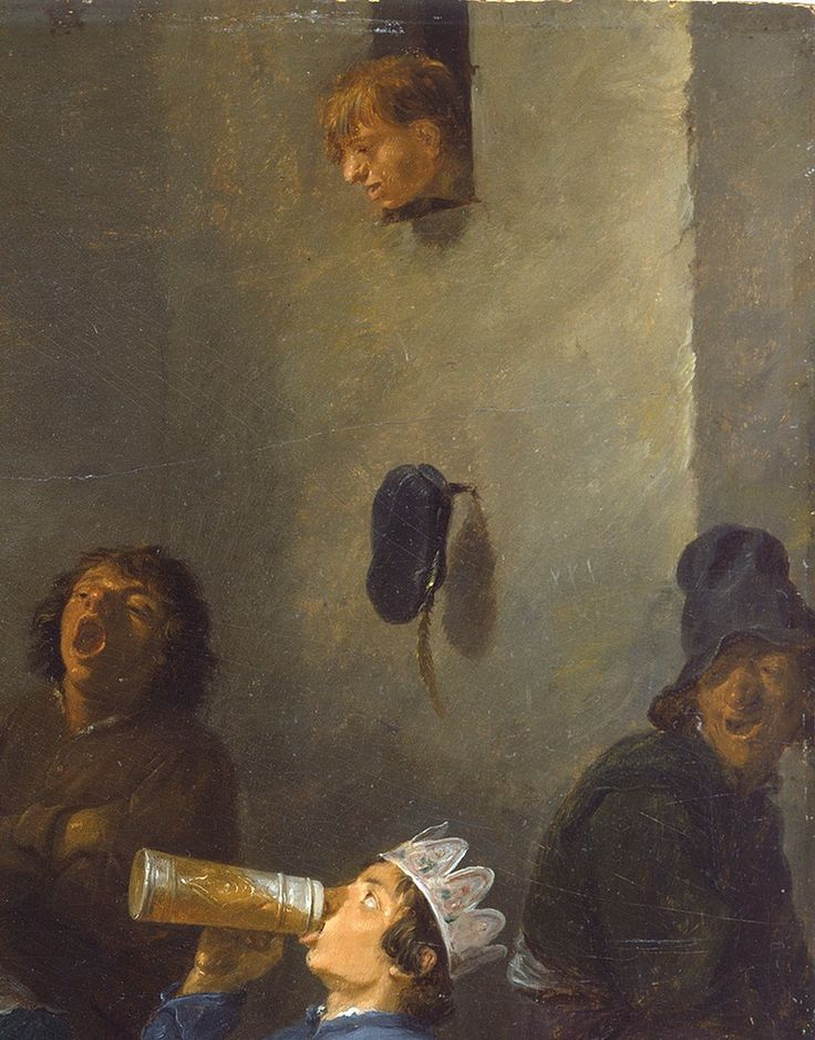 """""""Peasants Celebrating Twelfth Night"""" (details), 1635, David Teniers the Younger."""