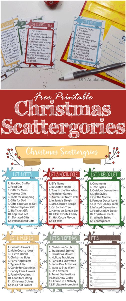 Start a new holiday tradition with your family and friends this year. This free printable Christmas Scattergories game is perfect for a festive fun night!