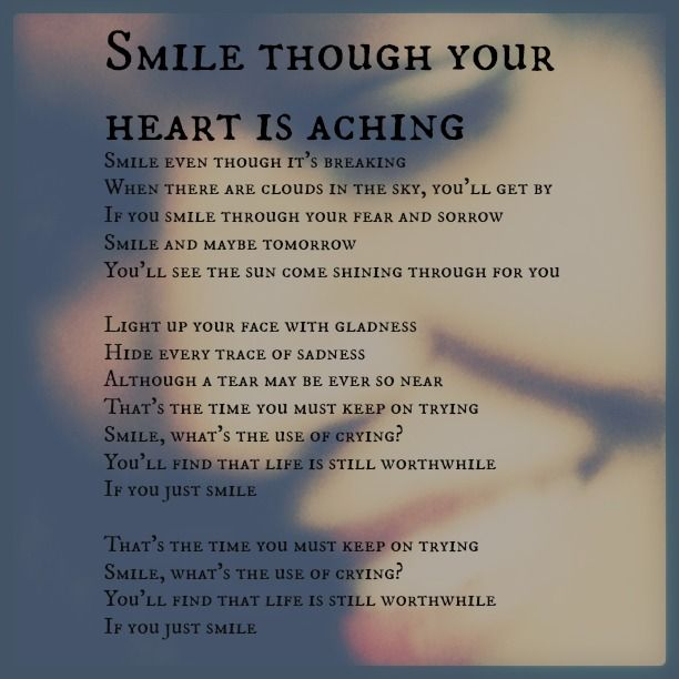 SMILE.  One of my favorite Nat King Cole Songs.....Mom use to sing this...memories