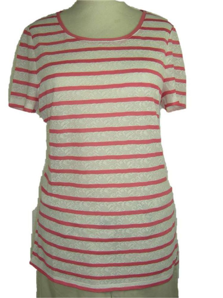 #T-shirt witte kant met strpen Perfect Coral  korte mouw