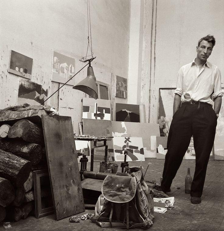 Denise Colomb:  Nicolas de Staël (1914 - 1955) dans son atelier, rue Gauguet, Paris, 1954