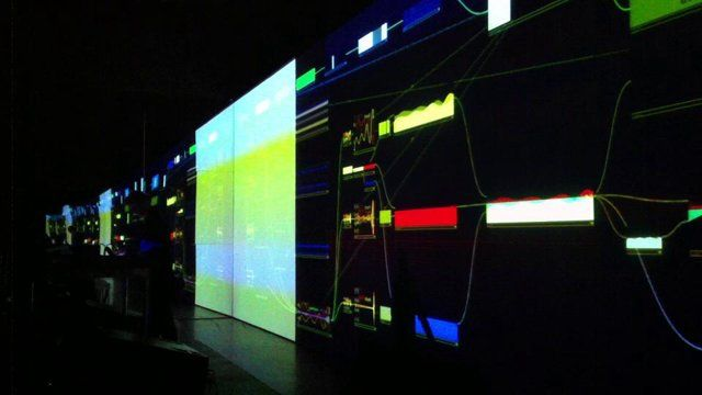 (Shot with an iPhone) but this is the opening segment of alva noto's (carsten nicolai) spectacular live performance of univrs (uniscope version) in the  Musée d'art contemporain de Montréal May 4th. The artist had mirrors installed on either side of the projection wall in the already very wide chamber resulting in a very convincing display of visuals to infinity. Derivative's Markus Heckmann has worked closely with Nicolai over the last 3 years to produce the performance visuals in ...