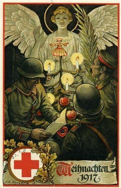 German Christmas card, 1917 war soldier angel