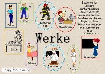 Home School: Grade R - Week 21 - Werke / Jobs - Happy Doo-Da