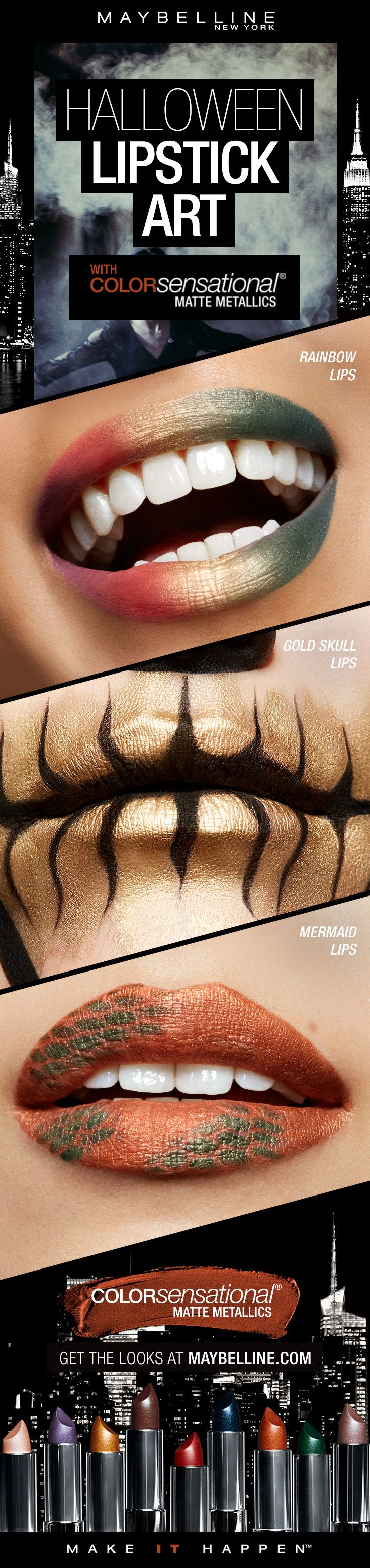 Halloween makeup is the perfect time to experiment with makeup trends like lip art.  Try recreating a rainbow lip look, gold skull lips look, or mermaid lips look with our Matte Metallics Lipsticks.