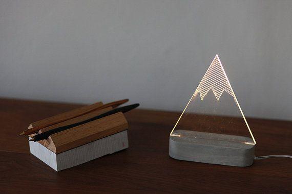 Lampe moderne de montagne enneigée, lampe de montagne, lampe de table, veilleuse, lampe décorative hiver