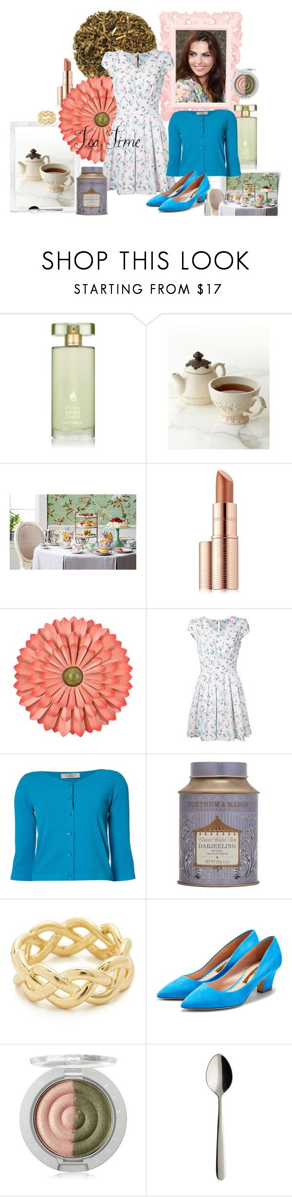 """""""Afternoon Tea"""" by veronica-h ❤ liked on Polyvore featuring Estée Lauder, GG Collection, Guild Prime, D.Exterior, Fortnum & Mason, Soave Oro, Rupert Sanderson, Villeroy & Boch, dress and tea"""
