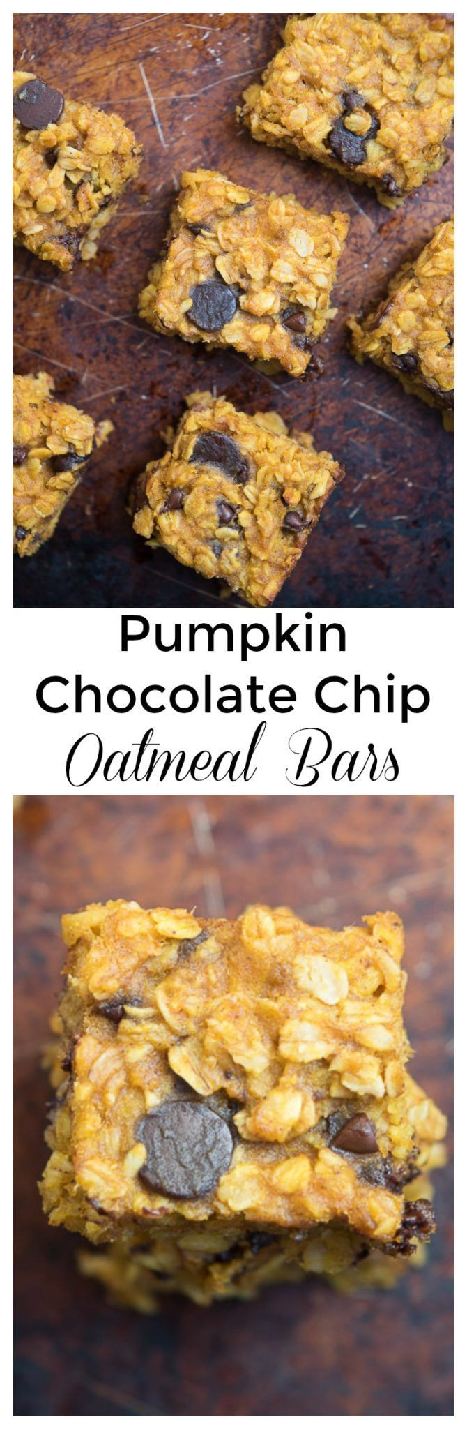 Pumpkin Chocolate Chip Oatmeal Bars- these simple, one mixing bowl bars are gluten free and a great whole grain breakfast or snack!