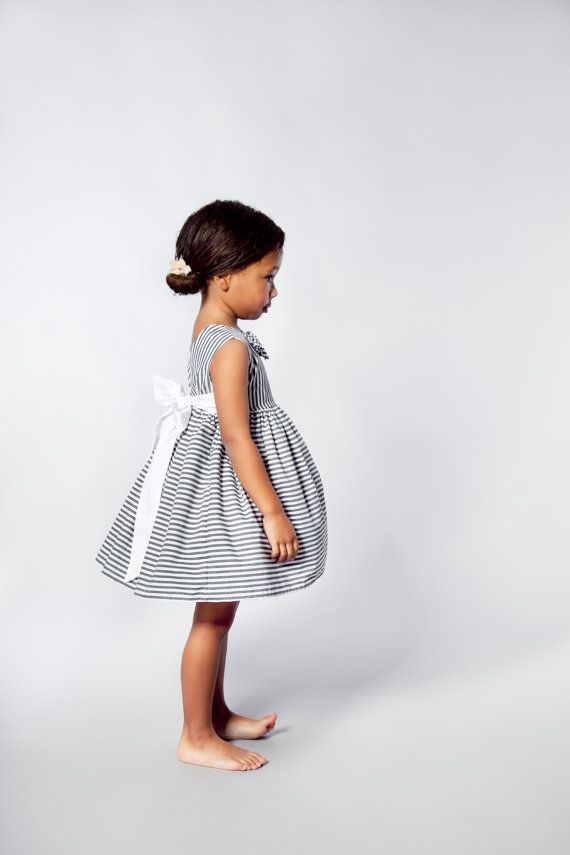 Junior Bridesmaid dress in Deep Grey And White Stripes.