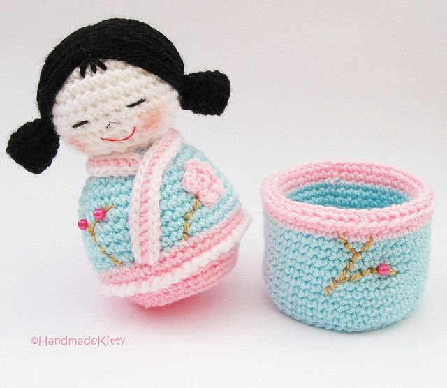 Kokeshi Doll Knitting Pattern : Japanese kokeshi girls jewelry box Amigurumi Crochet Pattern   by HandmadeKit...