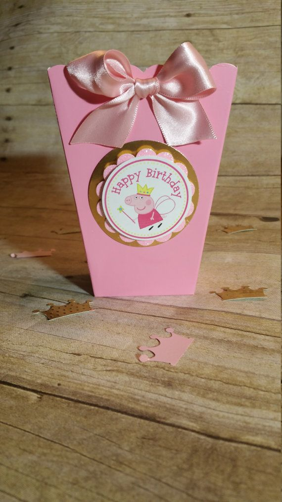 Pink and gold Peppa pig Mini Popcorn Boxes Inspired theme