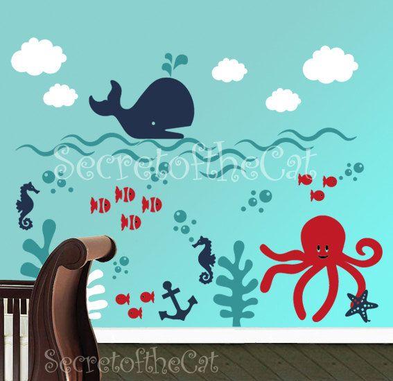 Nursery decal - Underwater decal - Children Wall Decal - Sea World Vinyl Decal  - Original design by SecretoftheCat on Etsy, $136.52 CAD