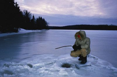 Ice Fishing. Yep, I live at and work year-round at a camp in Wisconsin, and can walk right out onto the lake I can see from my window, drill some holes, and potentially never buy food all winter. =)
