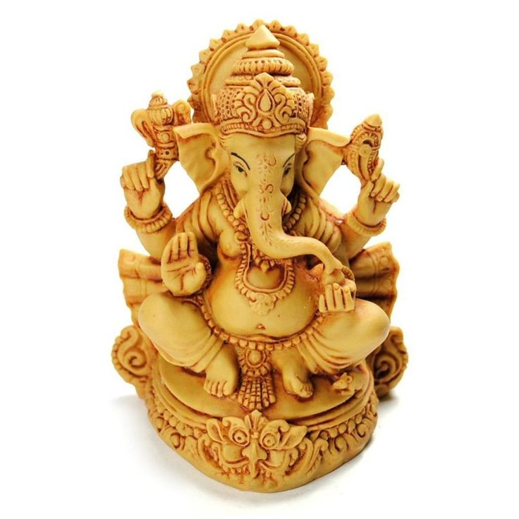 """Details About GANESHA STATUE 4.5"""" Resin Hindu Elephant God HIGH QUALITY Sitting India Indian In"""