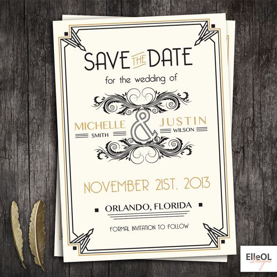 Great Gatsby art deco wedding save the date white