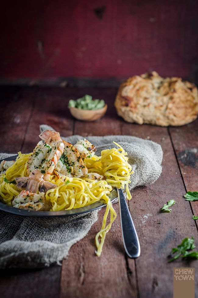 Lemon Pasta with Grilled Scampi and Scampi Oil | Chew Town Food Blog