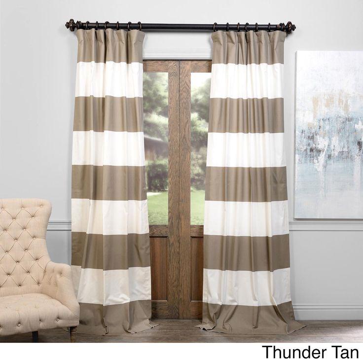 Exclusive Fabrics Cabana Cotton Horizontal Stripe 120-inch Curtain Panel (