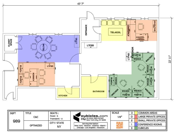 Office layout in 989 square footage office area for Cubicle floor plan