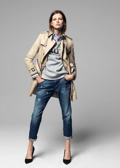 Grey sweatshirt classic trenchcoat boyfriend jeans high heels MANGO - CATALOGUE FALL 2013