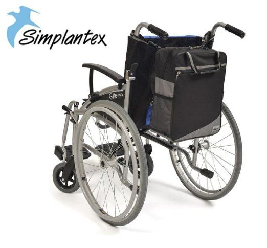 Simplantex Deluxe Ripstop Wheelchair Bag * Now With Upgraded Fabric & Trimmings - Black