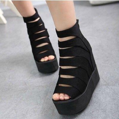 Купить товар2015 весна и лето с открытым носком обуви лифт туфли на платформе клинья сандалии женские туфли молнии плоские в категории Сандалиина AliExpress.   ДЕТАЛИ ПРОДУКТА