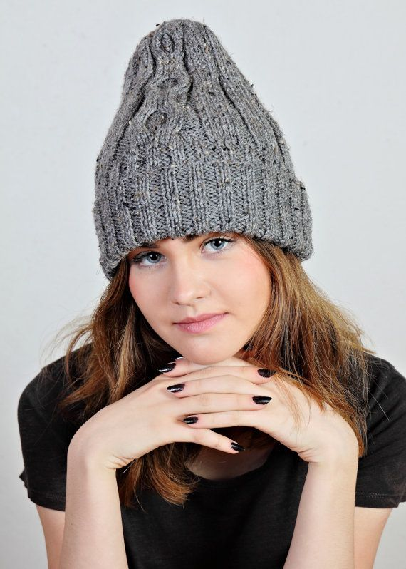 Gray beanie hat gray knit hattweed wool by Isabellwoolstudio