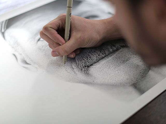 A Portrait Drawn by Hand with 2.1 Million Ink Dots