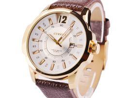 Luxusné pánske hodinky Curren v zlatej farbe s hnedým remienkom