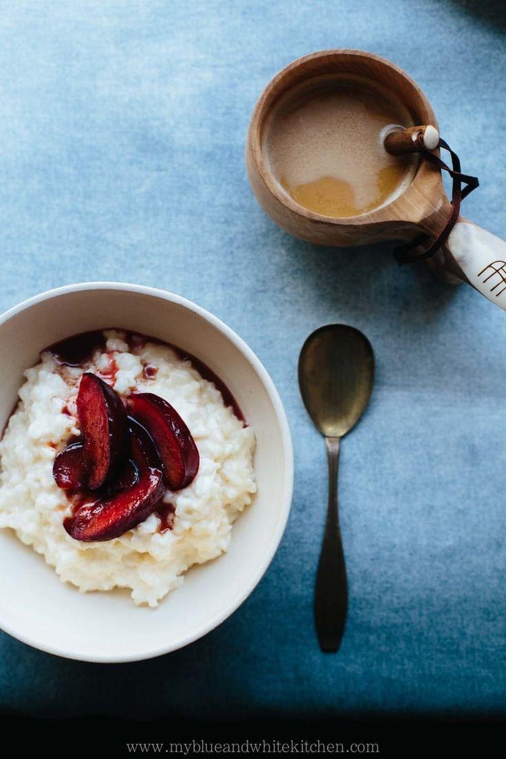 Rice Porridge with Caramelized Cinnamon Plums | My Blue&White Kitchen