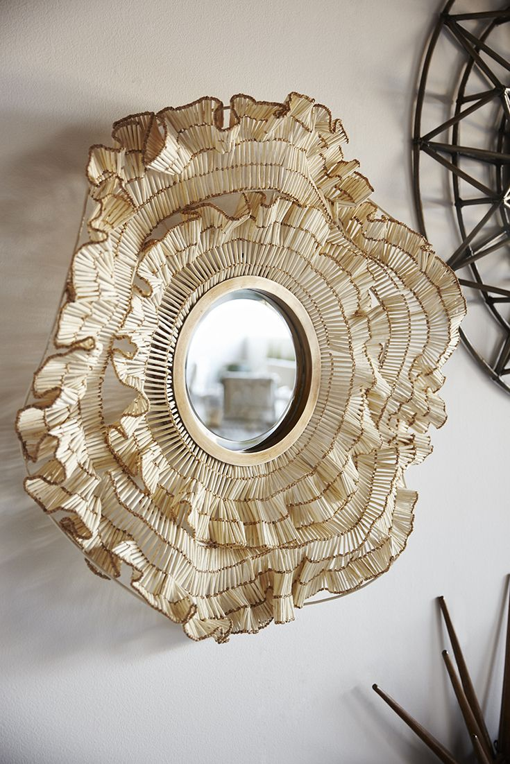 Palecek Coco Ruffle Mirror Beveled Mirror With Ruffle Shaped Metal Frame Embellished With Coco Wood And Beads Finished In Mirror Beveled Mirror Round Mirrors