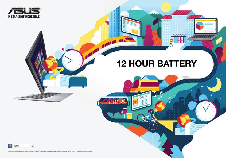 illustrations to promote the new Asus products.