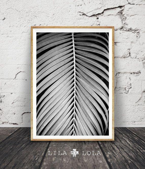 Palma hoja imprimir, planta de la foto, blanco y negro pared arte, cartel de decoración hogar Tropical grande, moderna mínima, Digital descargar