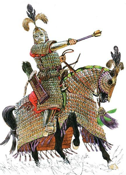 A mongol Elite cavalryman or commander.Magnificently equipped in steel lamellar armour. While the mongol light cavalry wore leather lamellar armour or no armour at all,the heavy cavalry had the excellent steel lamellar armour. Mongol commanders didn't participate in the battle,but would head to a excellent view point of the battlefield and direct orders from there-unlike their counterparts.They also used banner flags rather than voice commands for excellent command and control.