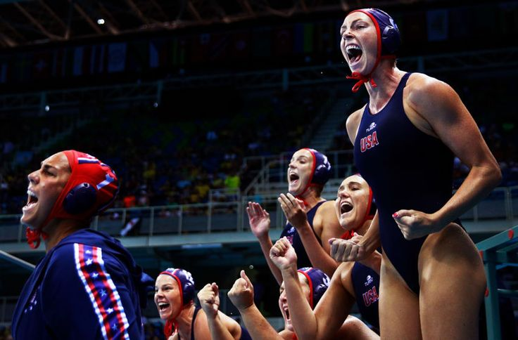 USA GOLD FOR WATER POLO TEAM!  USA celebrates a goal with with team mates during the Water Polo Gold Medal FINAL v Team Italy...