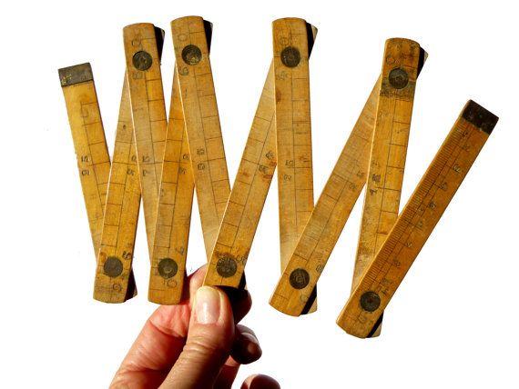 Antique mètre pliant centimètres/ inches/ pouces double