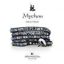 Mychau - Bracciale Vietnam originale realizzato con Agata Grigia Cracked naturale su base bracciale col. nero