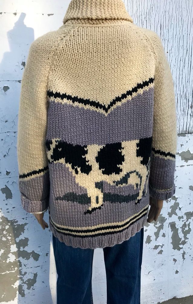 Vintage Sweater Jacket Wool Handmade Knit Zip Up Jersey Cow Picture Spring Coat | eBay