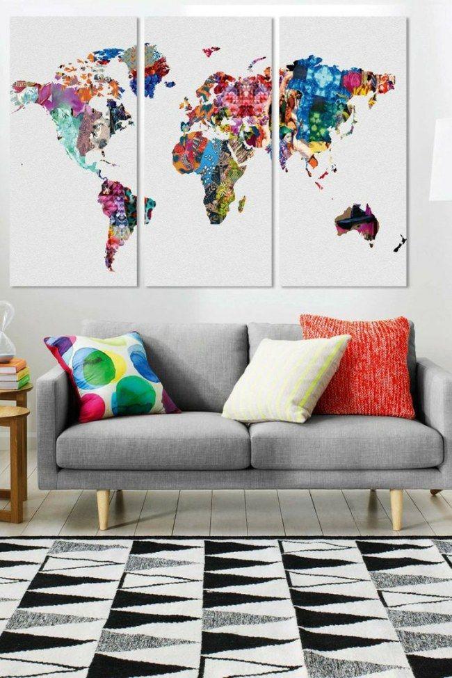Decorar con mapas mundi: el placer de viajar sin moverte de casa