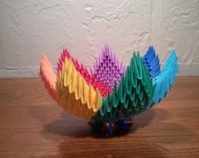 tazón de fuente espiral arco iris de 3D origami
