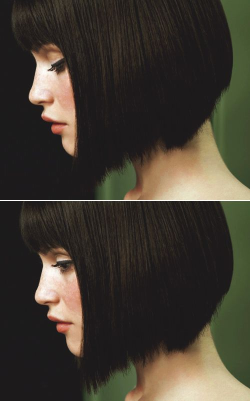 Gemma Arterton with a short bob and blunt bangs.