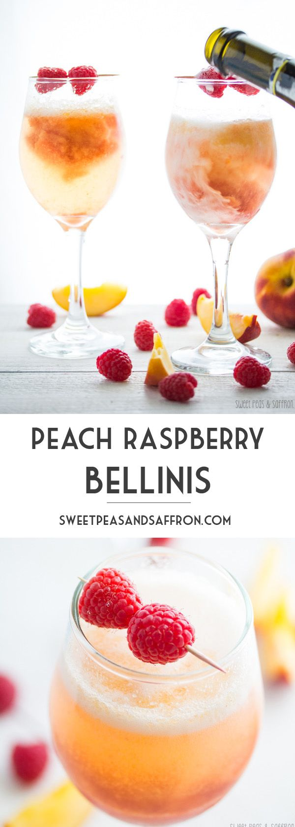 Peach & Raspberry Bellinis | sweetpeasandsaffron.com @sweetpeasaffron