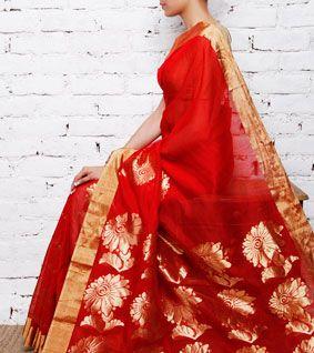 Red Chanderi Cotton Silk Saree with Zari Work