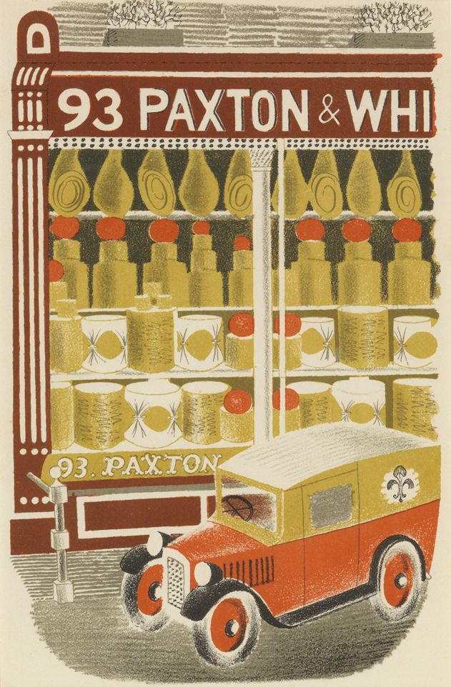 """Eric Ravilious: Cheesemonger from """"High Street"""" lithograph (1938)"""