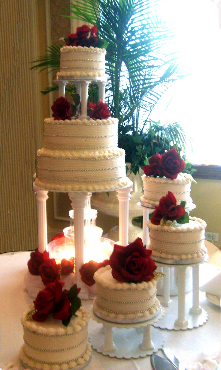 Rose stairs wedding cake design
