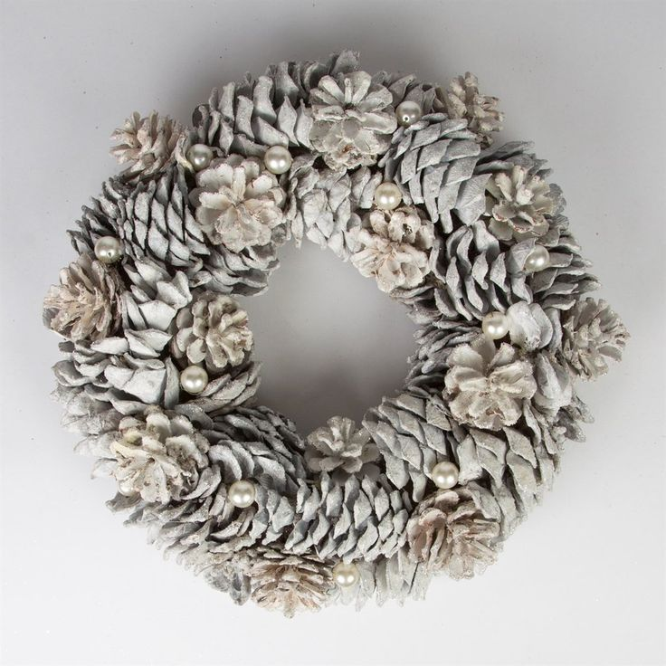 Snowy Pine Cone and Pearl Wreath