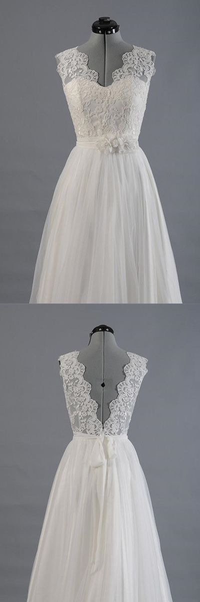 Elegant V-neck Sweep Train White Open Back Lace Wedding Dress