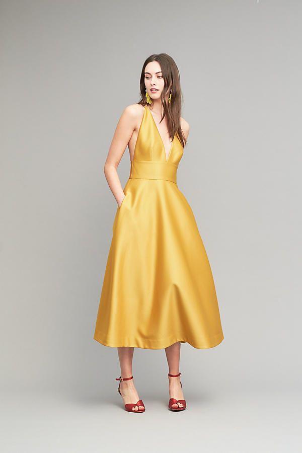 Slide View: 3: Venice Halter Dress, Yellow