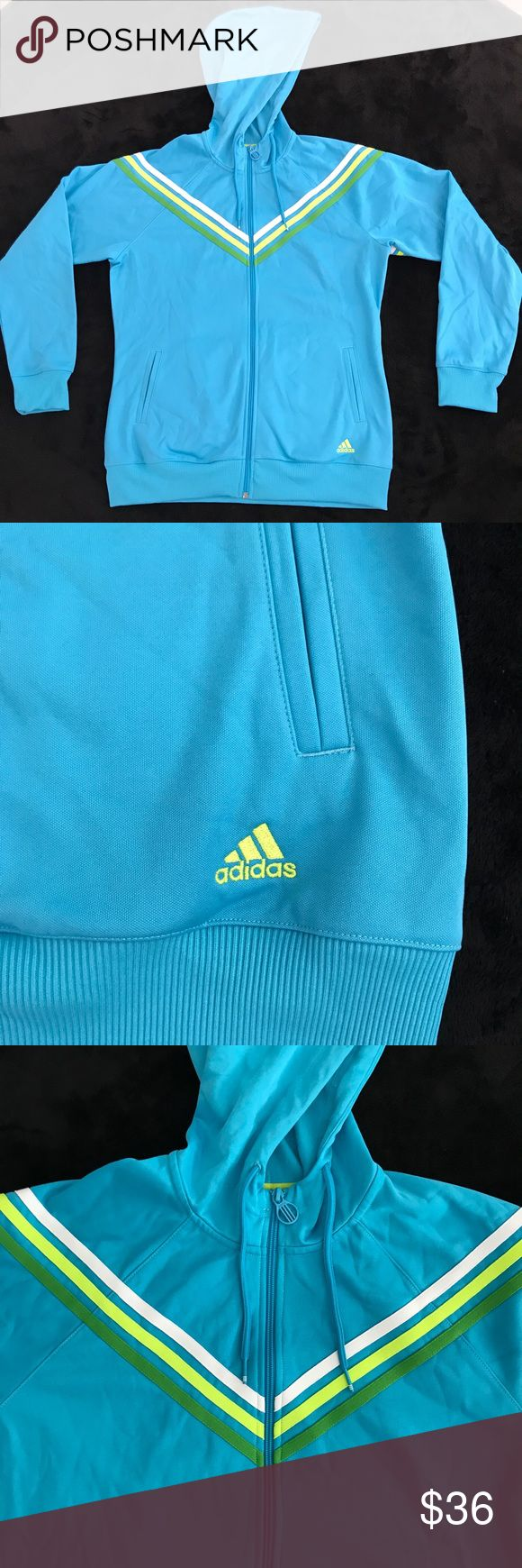 Adidas Sky Blue Striped Zip Up Hoodie This adidas hoodie is in PERFECT condition! This was given to me as a gift and I never wore it because it was the wrong size for me. The logos, embroidered stripes. Zippers, everything is like new condition. Two front pockets. Super soft interior. Unique zipper. White, Yellow, and green stripes. 100% Polyester.⭐️Smoke-free and pet-free home. No trades.  Will work with reasonable offers! Will answer any questions. 1-2 day shipping.⭐️ adidas Jackets…